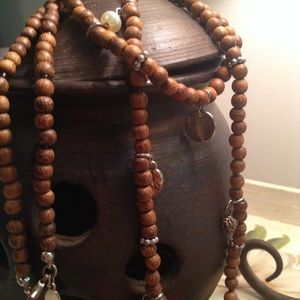 American Eagle/ wood bead charm necklace/32 inches